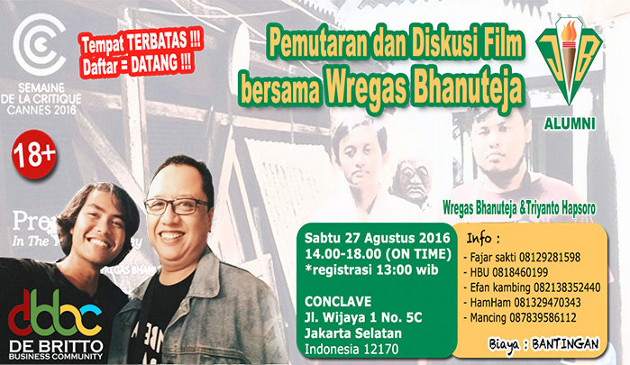 info acara : Pemutaran dan Diskusi Film bersama Wregas Bhanuteja
